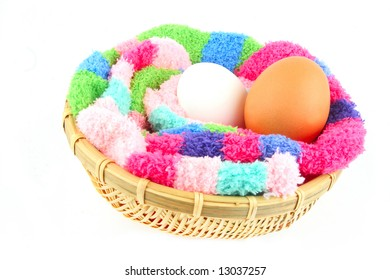 fluffy multicolored clutch for two easter eggs