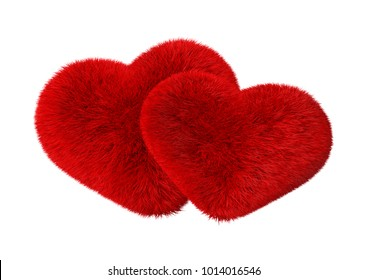 Fluffy Purple Hearts, Valentine's day, 3d Rendering Isolated