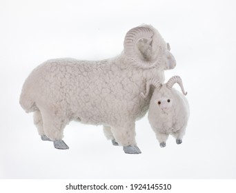 fluffy ram toy isolated on white background