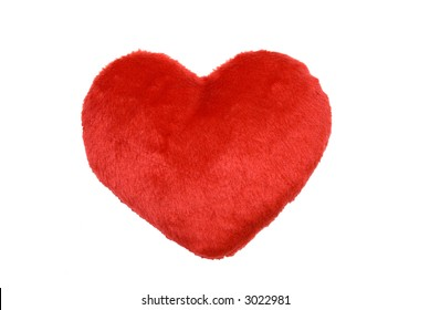 fluffy red heart shape in front of white background