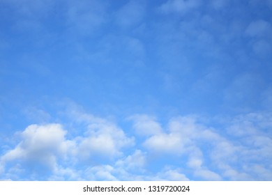 fluffy white cloud on clear blue sky in the morning weather day