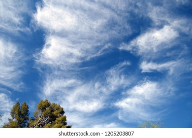 Fluffy white clouds on a blue sky