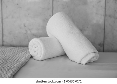 fluffy white luxury towels are a spa