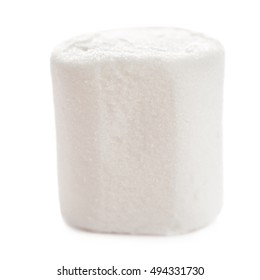 Fluffy white marshmallow macro isolated over white background.