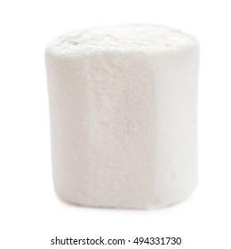 Fluffy white marshmallow macro isolated over white background.