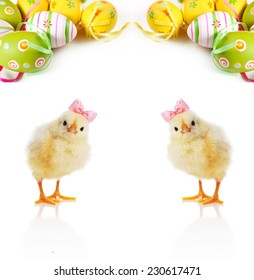 Fluffy yellow chicks and Easter Eggs