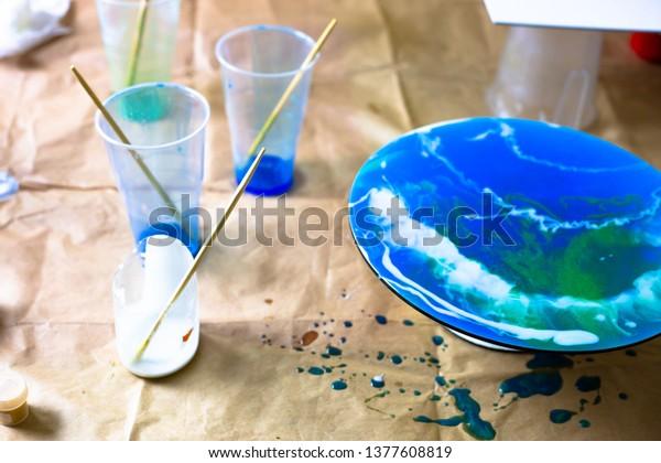 Fluid Art Acrylic Painting Pouring Acrylic Stock Photo Edit