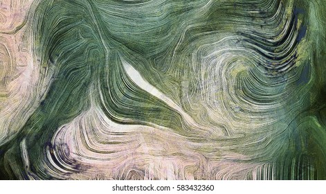 Fluid lines of color movement. Shades of green. Brush strokes.