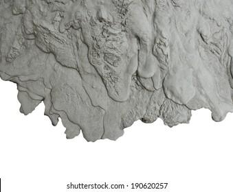 Fluid mud texture on white background