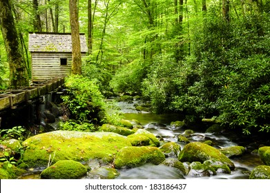 Flume and cabin on a creek in Great Smoky Mountain National Park