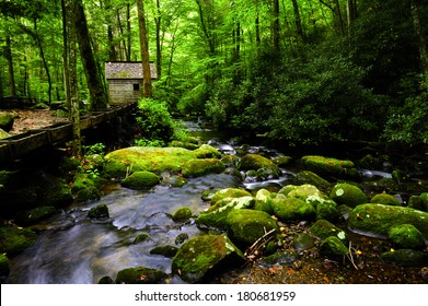 Flume and mill along a creek in Great Smoky Mountains National Park, Tennessee.