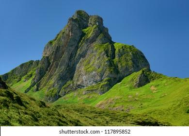 Flumserberg, Green Mountain, Alps, Switzerland, blue Sky