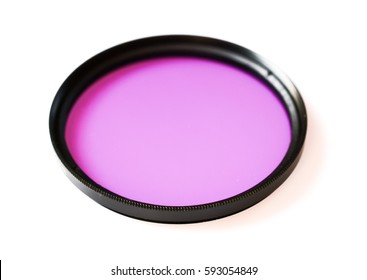 fluorescence filter lens isolated on white background
