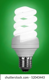 fluorescence lamp of isolated on a green background
