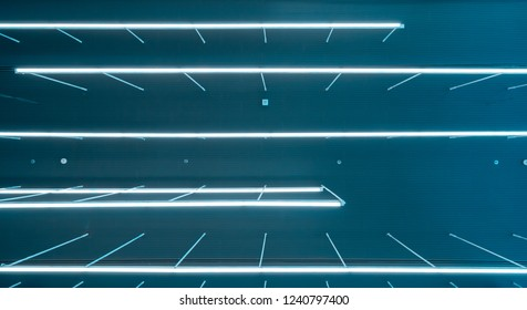 fluorescent ceiling lamp modern design in the co-working space business office, hanging light in large building