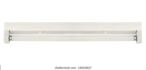 Fluorescent lamp with batten fitting isolated on white background