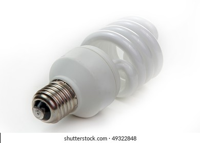 Fluorescent lamp bulb on isolated background