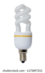 Fluorescent lamp with opaque glass bulb and E27 connection. White background.