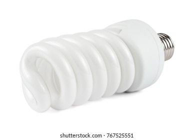Fluorescent Lamp in Perspective Isolated on White Background. Fluorescent Lightbulb. Clipping Path. Light