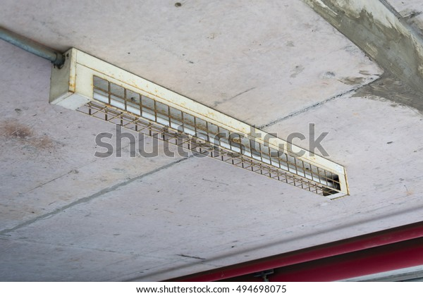 Fluorescent Lamp Wire Guard Batten On Stock Photo (Edit Now