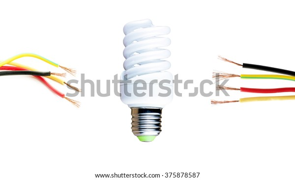 Fluorescent Lamp Wires Located On Either Stock Photo (Edit ... on