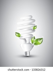 Fluorescent light bulb with growing plants