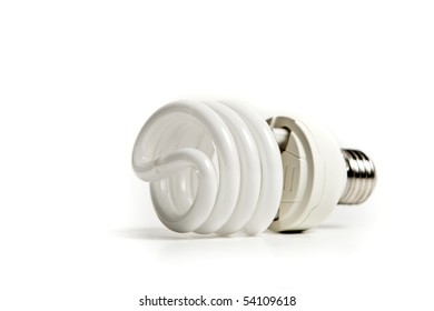 Fluorescent light bulb isolated on a white background.