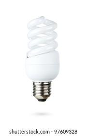 Fluorescent light bulb isolated on white background