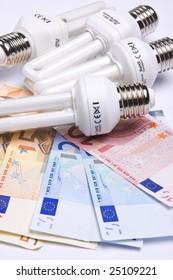 fluorescent light bulb with money