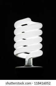 Fluorescent Light Bulb on Black Background