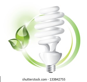 Fluorescent light bulb on circle background