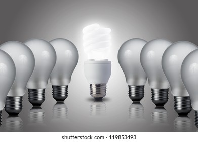 Fluorescent Light bulb turn on in middle of the other light bulbs. Concept for energy conservation