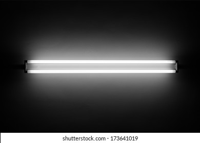 Fluorescent light tube on the wall