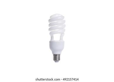 fluorescent spiral light bulb isolated on white background