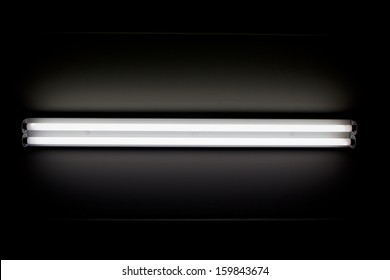 a fluorescent tube mounted on a wall