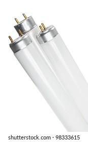 Fluorescent Tubes on White Background