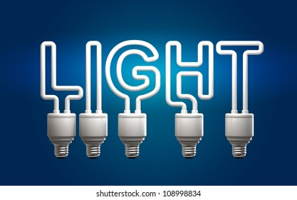 "fluorescent tubes which form the word ""light"""