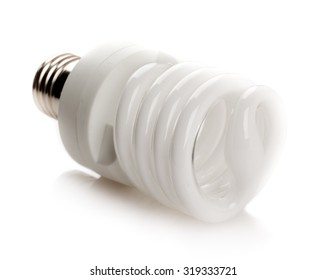 Fluorescent white light bulb isolated on white background.