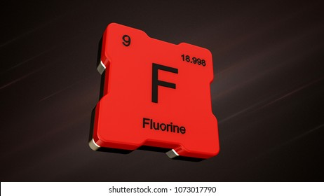 Fluorine element number 9 from the periodic table on futuristic red icon and nice lens flare on noisy dark background - 3D render