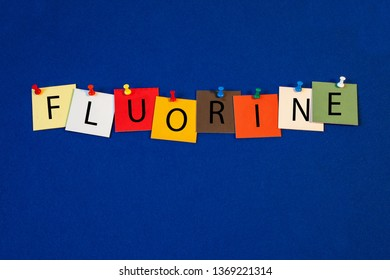 Fluorine – one of a complete periodic table series of element names - educational sign or design for teaching chemistry.