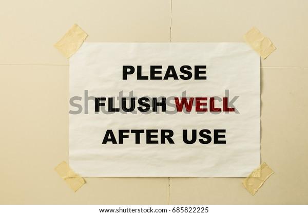 Flush Slogan Toilet Stock Photo (Edit Now) 685822225