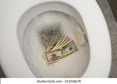 Flushing 100 dollar bills down the toilet