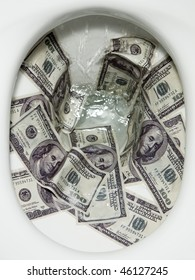Flushing dollar bills into a toilet bowl