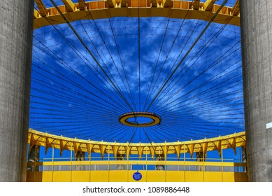Flushing, New York - Apr 21, 2018: The Tent of Tomorrow in the New York State Pavilion, the historicworld's fairpavilionatFlushing Meadows-Corona ParkinFlushing, Queens,New York.