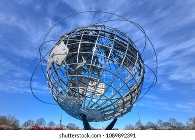 Flushing, New York - Apr 21, 2018: The iconic Unisphere in Flushing Meadows Corona Park in Queens, NYC. The 12 story structure was commissioned for the 1964 NYC World's Fair.