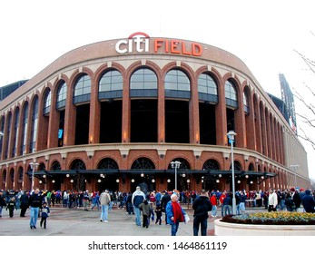 Flushing, New York - March 29, 2009. Fans gather for the first ever game at Citi Field. St. John's university was hosting Georgetown University