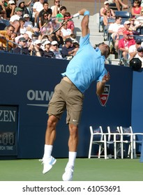 FLUSHING, NEW YORK- SEPT. 4: Roger Federer serves at the US Open, Sept. 4, 2010, Flushing, New York.