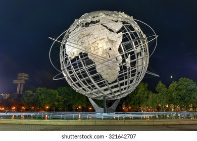 Flushing, New York - September 19, 2015: The iconic Unisphere in Flushing Meadows Corona Park in Queens, NYC lit up at night. The 12 story structure was commissioned for the 1964 NYC World's Fair.