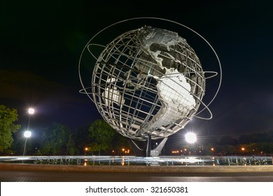 Flushing, New York - September 19, 2015: The iconic Unisphere in Flushing Meadows Corona Park in Queens, NYC. The 12 story structure was commissioned for the 1964 NYC World's Fair.