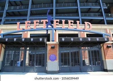 FLUSHING, NEW YORK - SEPTEMBER 5, 2017: Left field entrance at the Citi Field, home of major league baseball team the New York Mets in Flushing, New York